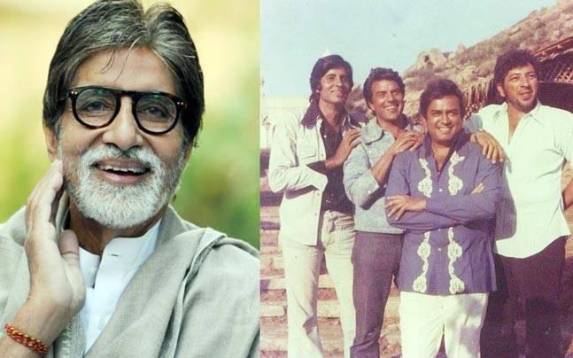 Amitabh Bachchan (L), a still from Sholay's sets (R)