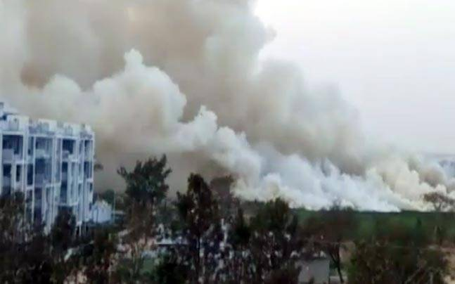 Bellandur lake fire