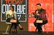 Koel Purie Rinchet and Karan Johar at India Today Conclave 2017