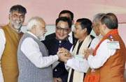 Naredra Modi at an election rally in Manipur