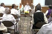Narendra Modi interacting with BJP MPs