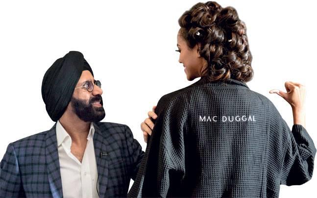 Mac Duggal with a model during New York Fashion Week 2017. Photo: Manjari Sharma
