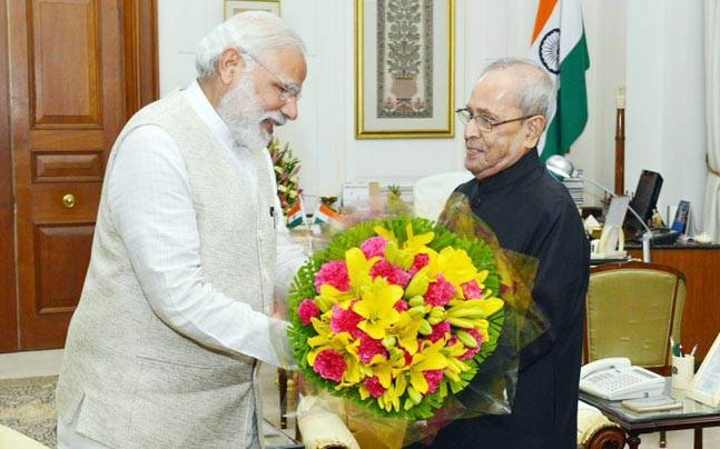 PM Modi with President Pranab Mukherjee