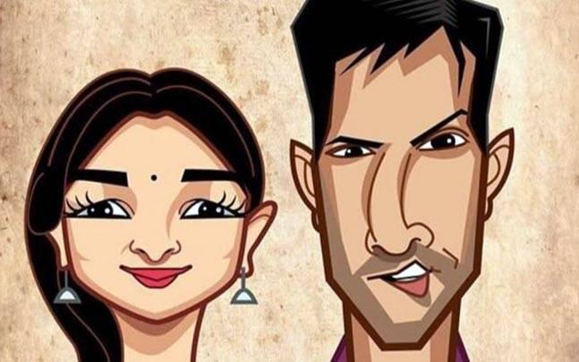 A cartoon of Alia Bhatt and Varun Dhawan