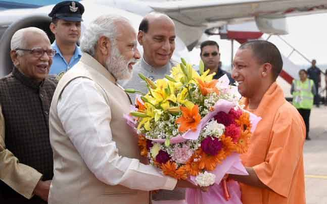 UP CM Yogi Adityanath with PM Modi and Home Minister Rajnath Singh (PTI photo)