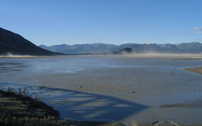 The vast flowing Slims River in Canada vanished in just four days due to climate change. (Image via Wikipedia Commons)