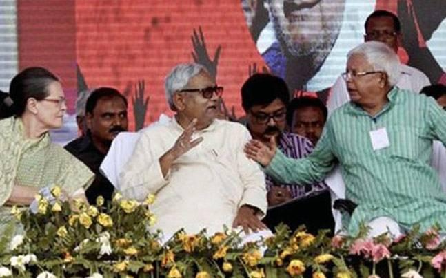 Sonia Gandhi with Nitish Kumar and Lalu Yadav