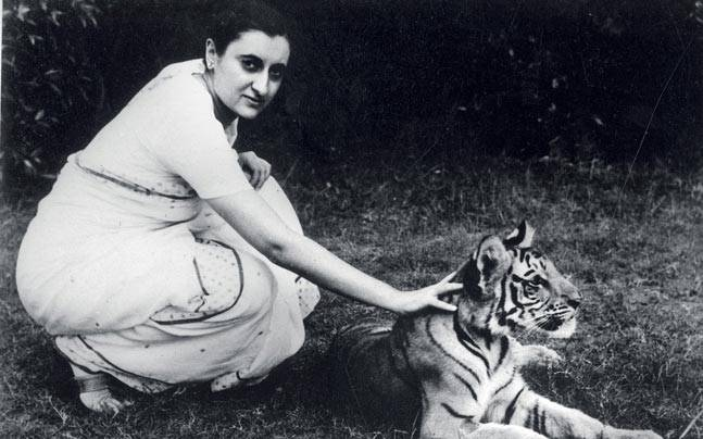 Indira with a tiger cub at Teen Murti House, 1956/57.