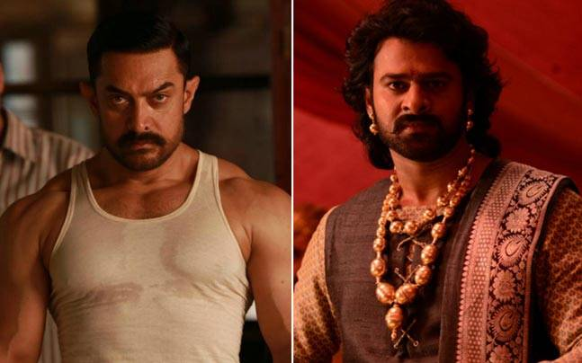 A still from Dangal (L) and a still from Baahubali 2a