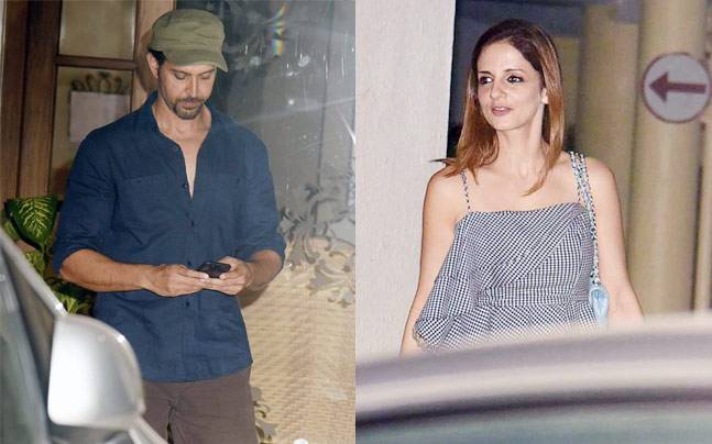 Hrithik Roshan and Sussanne Khan were snapped together at a party