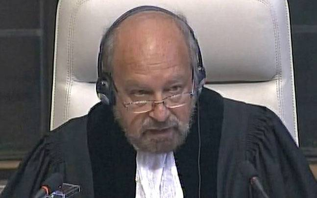 Judge Judge Ronny Abraham reads out the ICJ order. Photo: ANI.