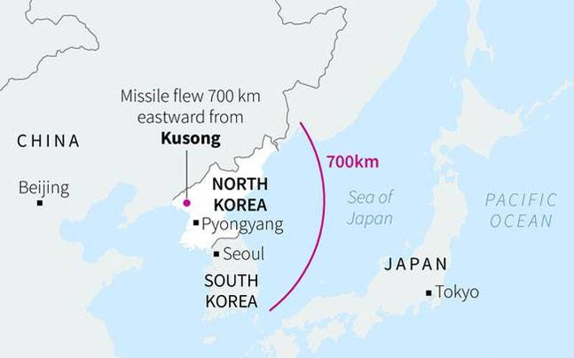 North korea fires ballistic missile trumps un envoy says kim jong heres a map that shows the range of the missile reuters photo gumiabroncs Image collections