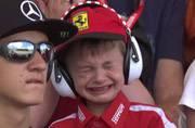 Heartbroken after Kimi Raikkonen's crash, sobbing six-year-old fan steals the show at Spanish GP