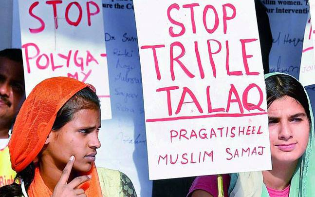 Muslim women protesting against triple talaq. PTI Photo.