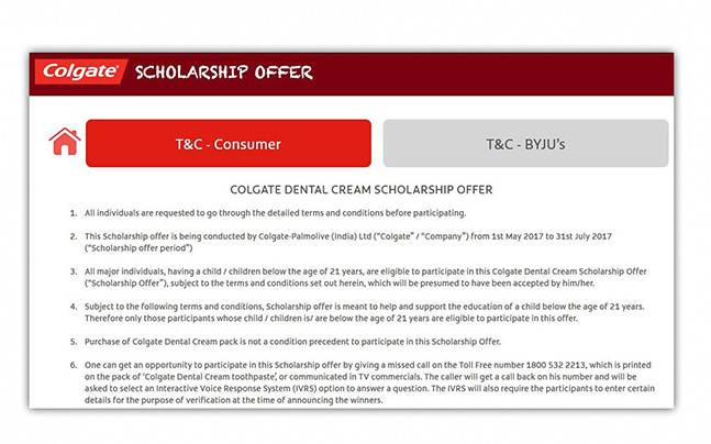 Colgate Scholarship Offer - A small step towards your