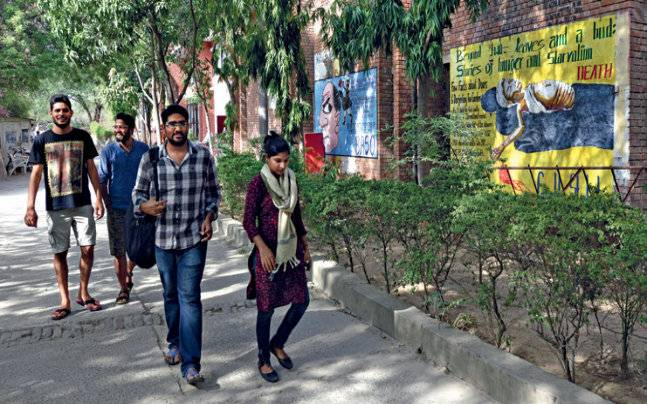 Down a sylvan lane on the campus. Photo: Chandradeep Kumar