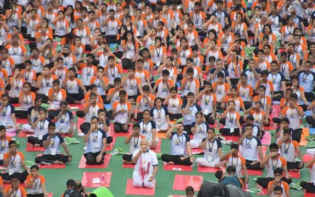 International Yoga Day: Narendra Modi with participants in Lucknow