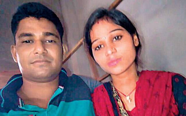 Bhagalpur's Himanshu Yadav with his wife