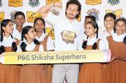 Tiger Shroff counts the benefits of maths with school kids in Mumbai