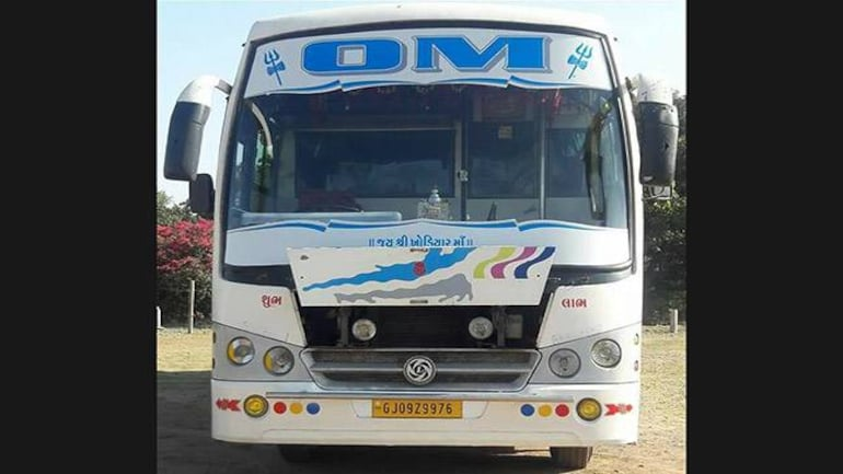 The ill-fated bus which was attacked in Anantnag