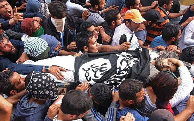 Funeral procession of Jaish-e-Mohammed terrorist Mukhtar Lone