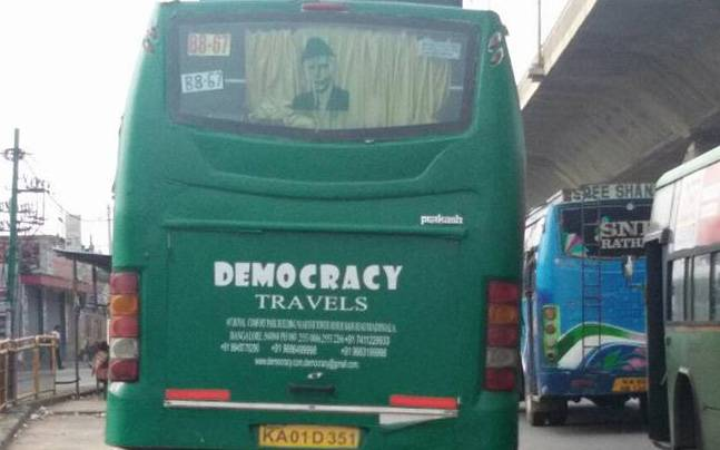 The photo of the bus with Jinnah's photo | Courtesy: Facebook