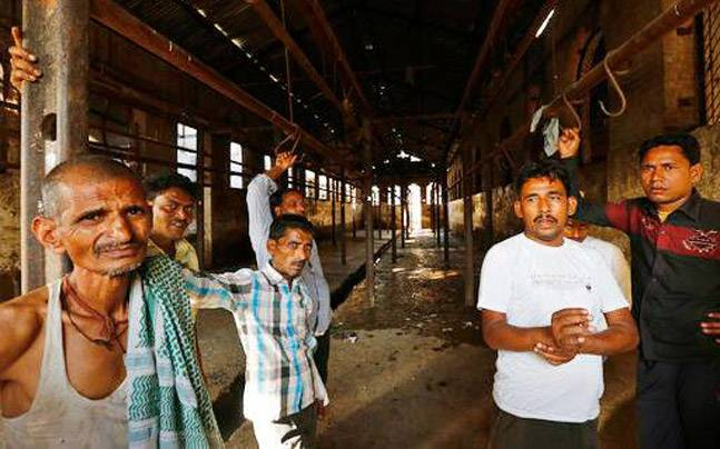 Workers at closed abattoir in Allahabad