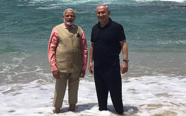 Narendra Modi with Benjamin Netanyahu at Olga Beach