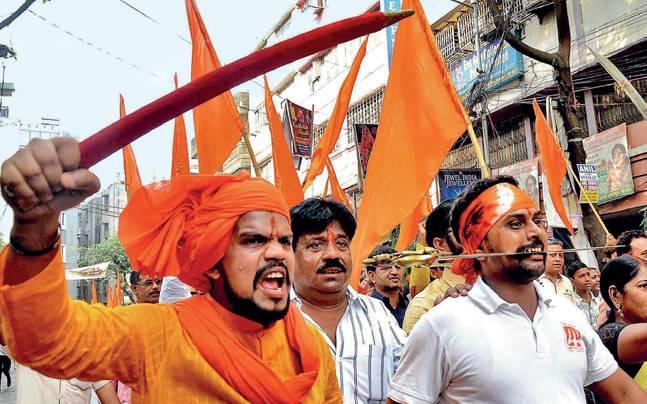 A BJP Ramnavami march in Kolkata, April 2017. Photo: Subir Halder