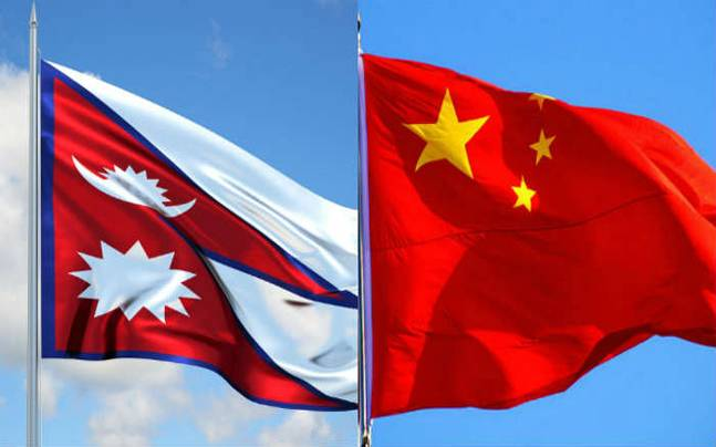 Nepal and China flags