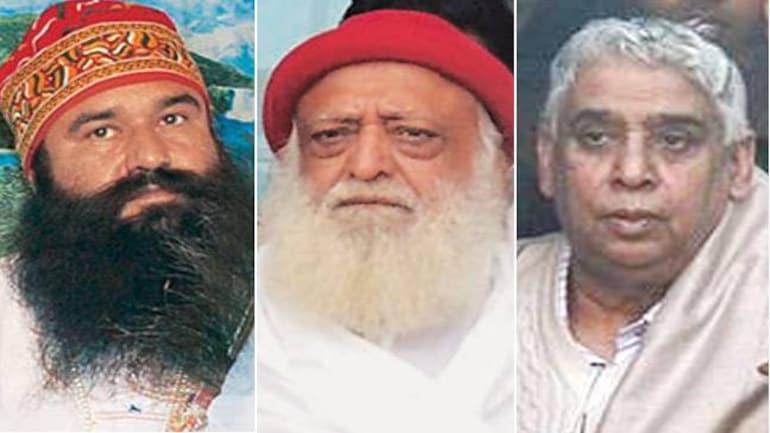 (L-R) Gurmeet Ram Rahim Singh, Asaram Bapu and Sant Rampal