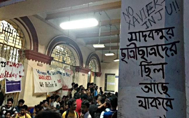 Students protesting at JU. The writing on the wall (right) says, 'Jadavpur belonged to students, will continue to belong to student.' Photo: Sougata Sinha