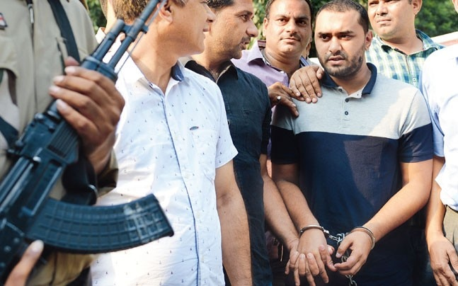 Samiun Rahman alias Shumon Haq (handcuffed) was arrested by Delhi Police special cell on Monday. (Photo: Praveen Negi)