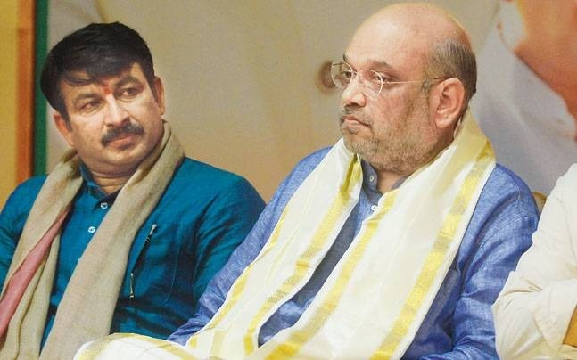 Manoj Tiwari with Amit Shah