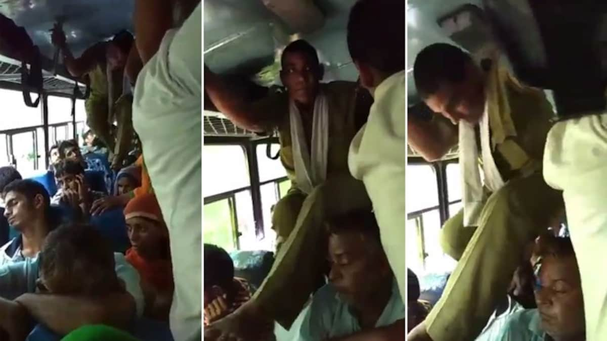 Con-duck-tor: Watch dedicated ticket checker of crowded bus climb