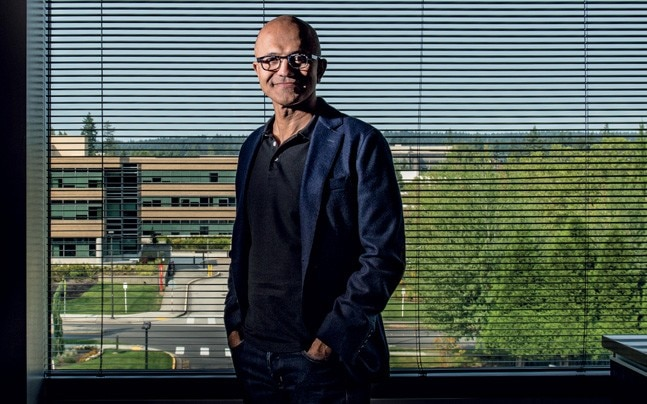 Satya Nadella in the midst of the action, at his Microsoft HQ office in Seattle. (Photo: Bandeep Singh)