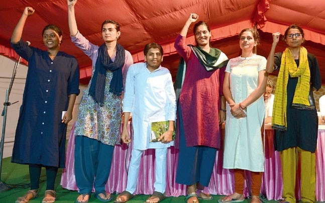 Six candidates participated in the presidential debate in JNU on Wednesday. (Photo: Parveen Negi).