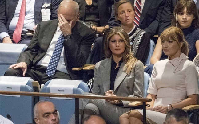 John Kelly, left, reacts as he listens to President Trump's U.N. speech. (Photo: Mary Altaffer/AP)