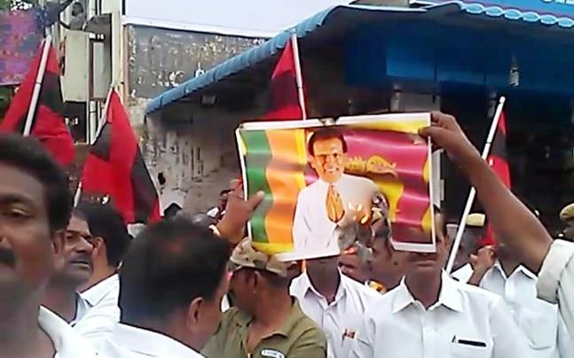 MDMK cadres laying siege to Sri Lankan Deputy High Commission.