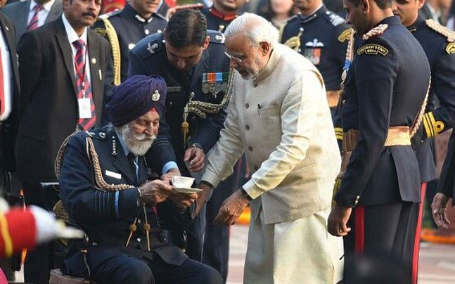Marshal Arjan Singh with PM Modi