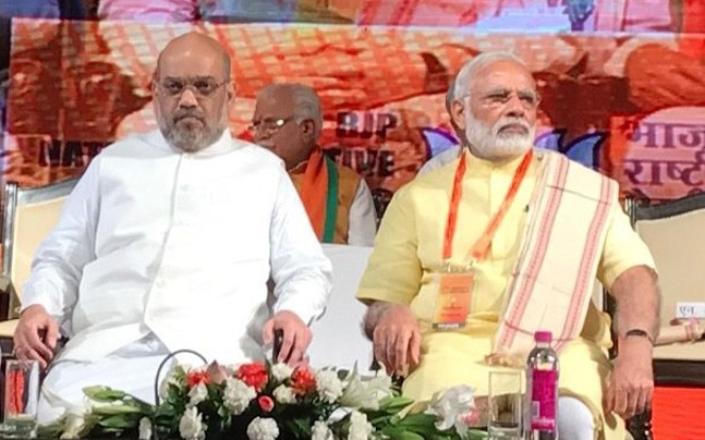 PM Modi with BJP chief Amit Shah at the national executive meeting (Photo: Twitter/BJPLive)
