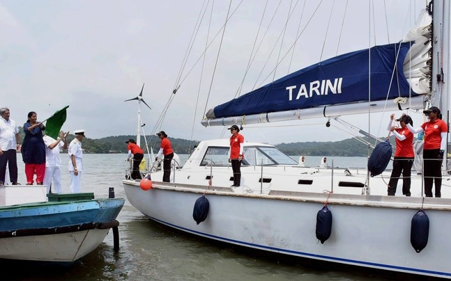 Defence Minister Nirmala Sitharaman flags off INSV Tarini and its all-woman crew who begin a circumnavigation effort (Photo: PTI)