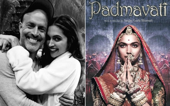 Deepika Padukone with her xXx: Return Of Xander Cage director DJ Caruso (L) and the first look of Padmavati