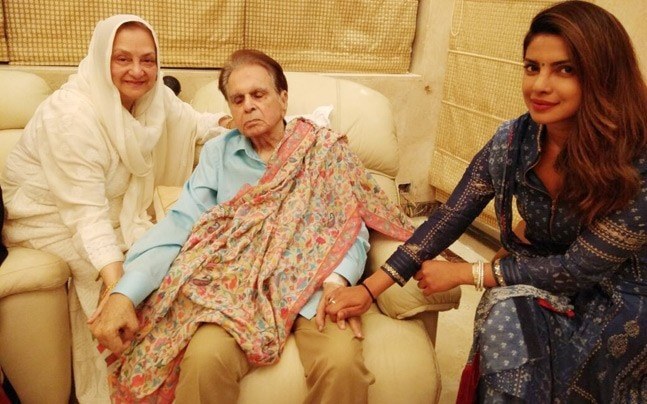 Priyanka Chopra with Dilip Kumar and Saira Banu
