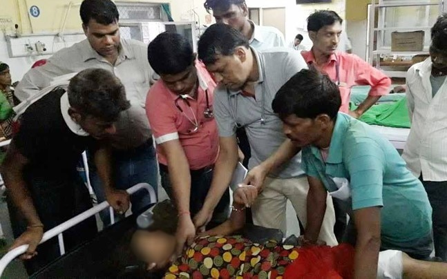 An injured girl being treated at a hospital after a speeding Bolero mowed down more than a dozen people in Rajasthan