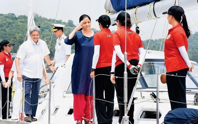 Defence minister Nirmala Sitharaman and Goa CM Manohar Parrikar meet the crew members before departure on Sunday. (Photo: PTI)