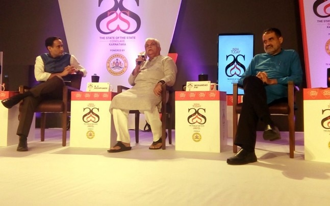 India Today's Rahul Kanwal with RV Deshpande and Mohandas Pai.