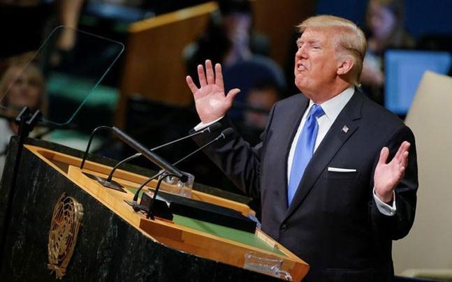 Donald Trump during his UN General Assembly speech (Reuters)
