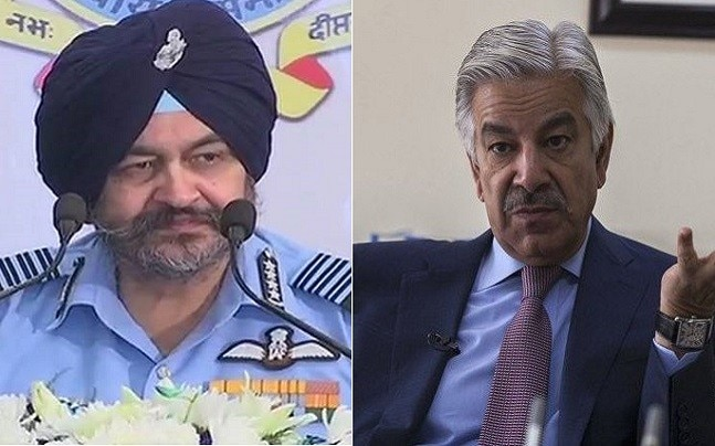 IAF chief BS Dhanoa (PTI)/ Pakistani Foreign Minister Khawaja Mohammad Asif (Reuters)