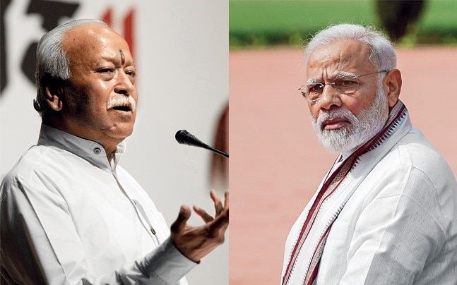 RSS chief Mohan Bhagwat and PM Narendra Modi